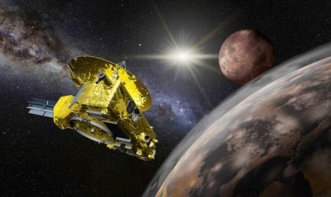 Ilustrasi New Horizons mengorbit Pluto.