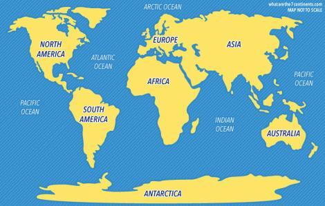 Benua dan samudera yang ada di dunia. Image credit: whatarethe7continents.