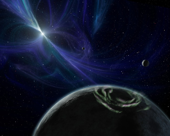 This artist's concept depicts a planetary system discovered by Aleksander Wolszczan in 1992 around a pulsar.